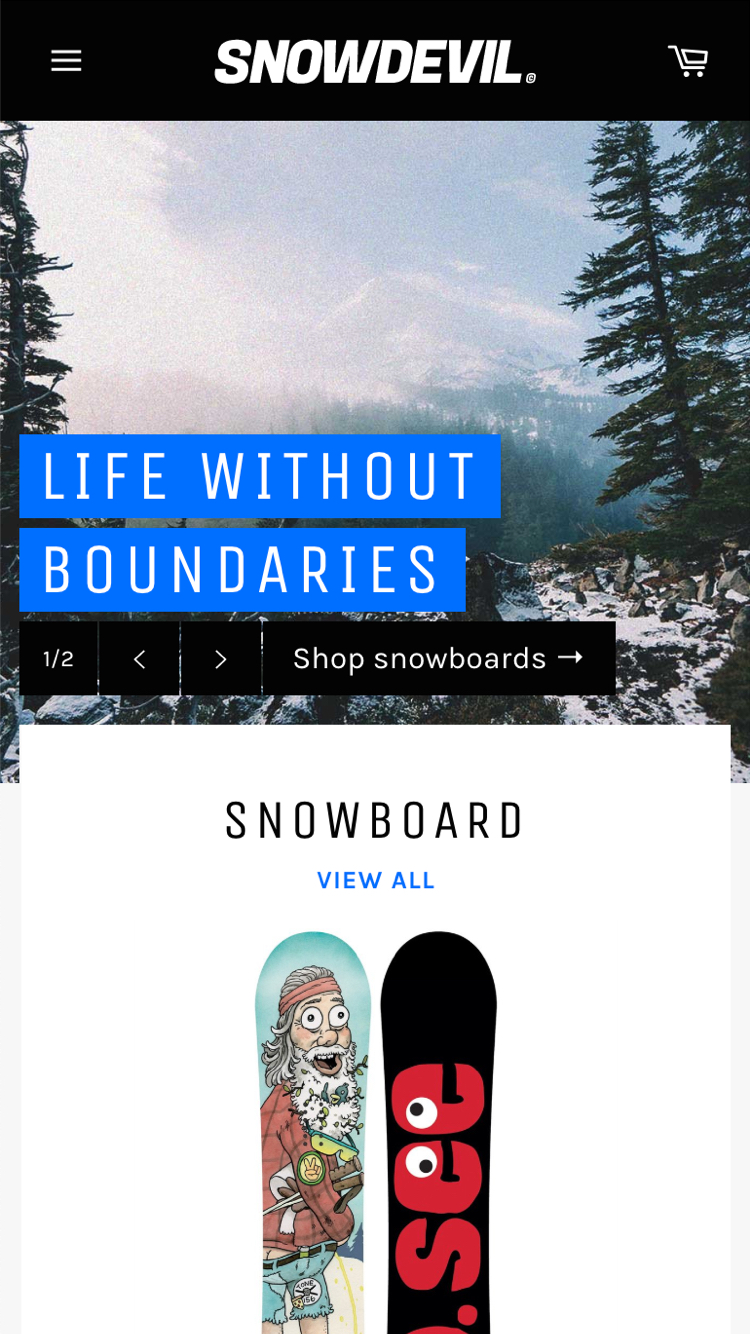 Mobile preview for the Venture - Snowboards theme