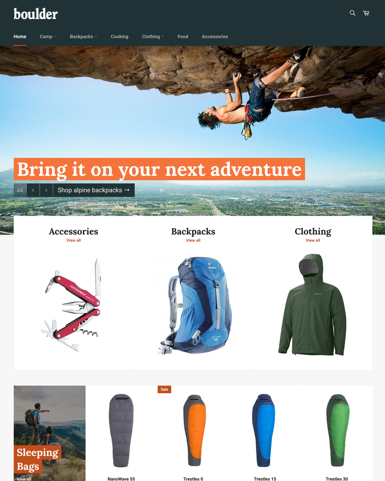 Outdoors Theme Venture Ecommerce Website Template - Shopify store templates