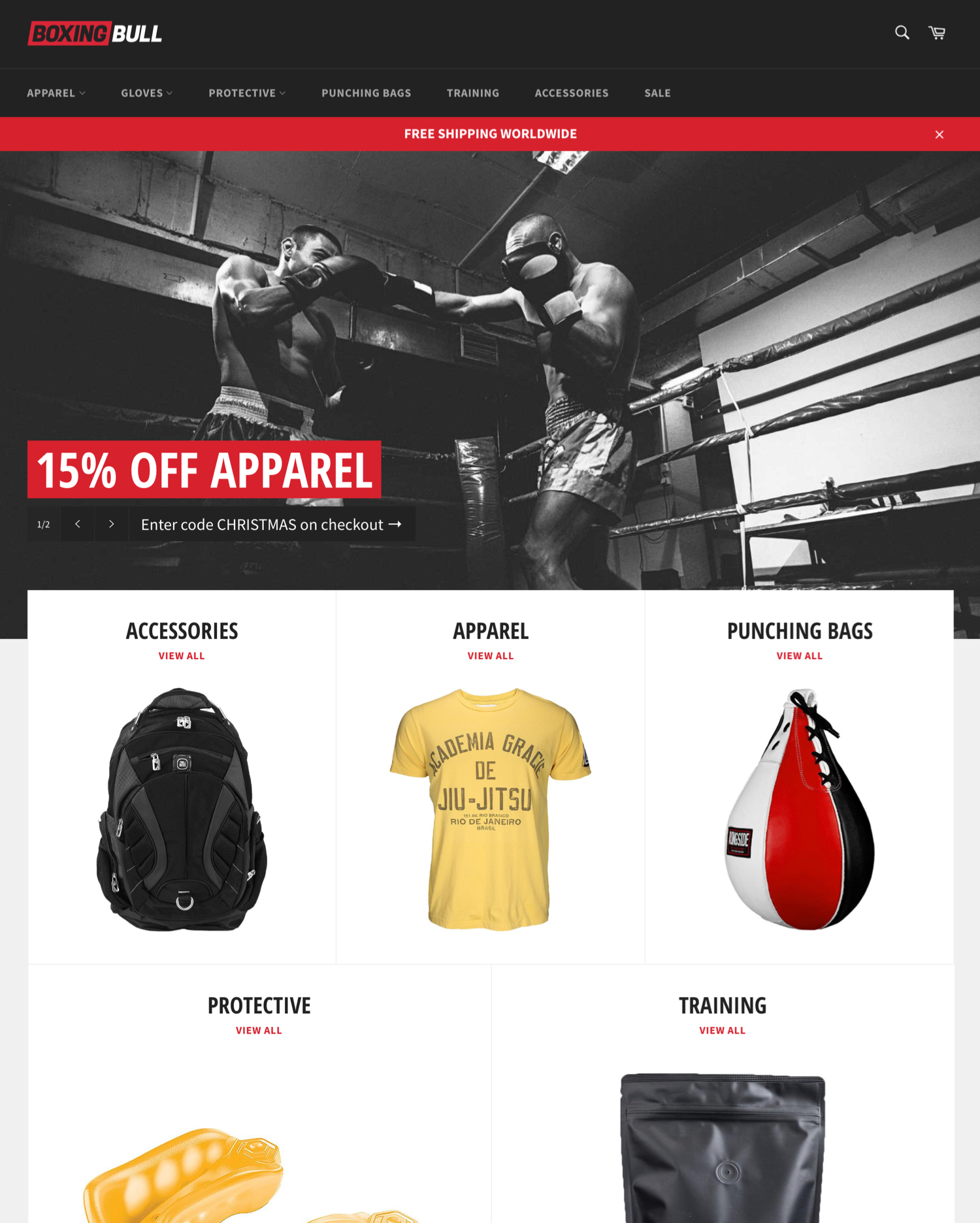 boxing theme venture ecommerce website template