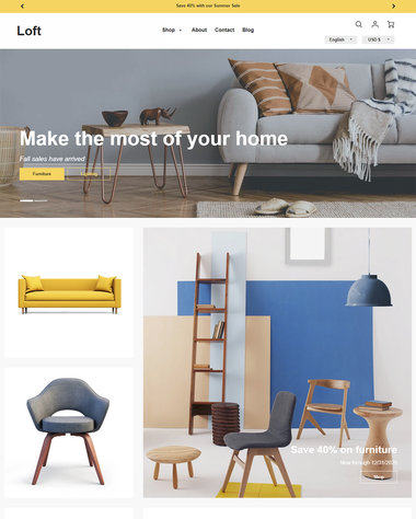 Furniture interior design ecommerce website templates for Design on line outlet