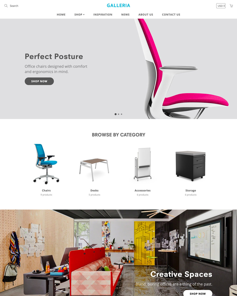showroom theme galleria ecommerce website template