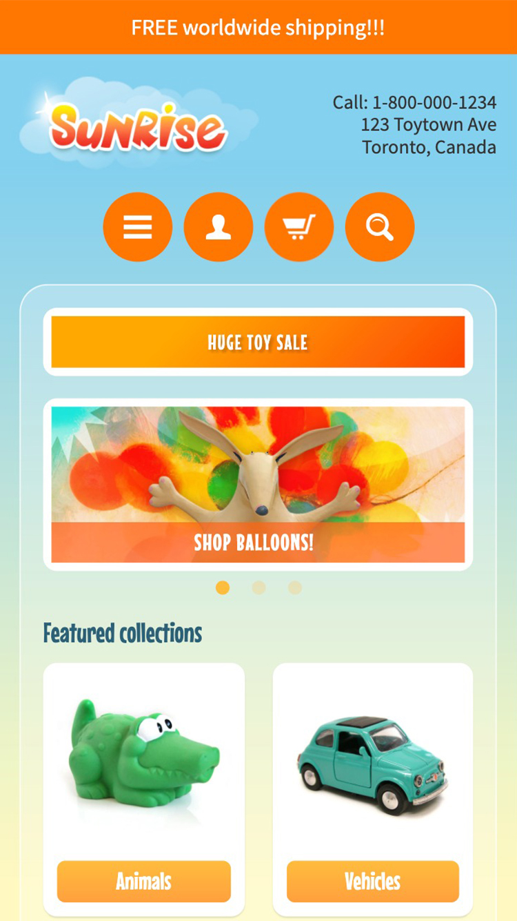 Mobile preview for the Sunrise - Spring theme