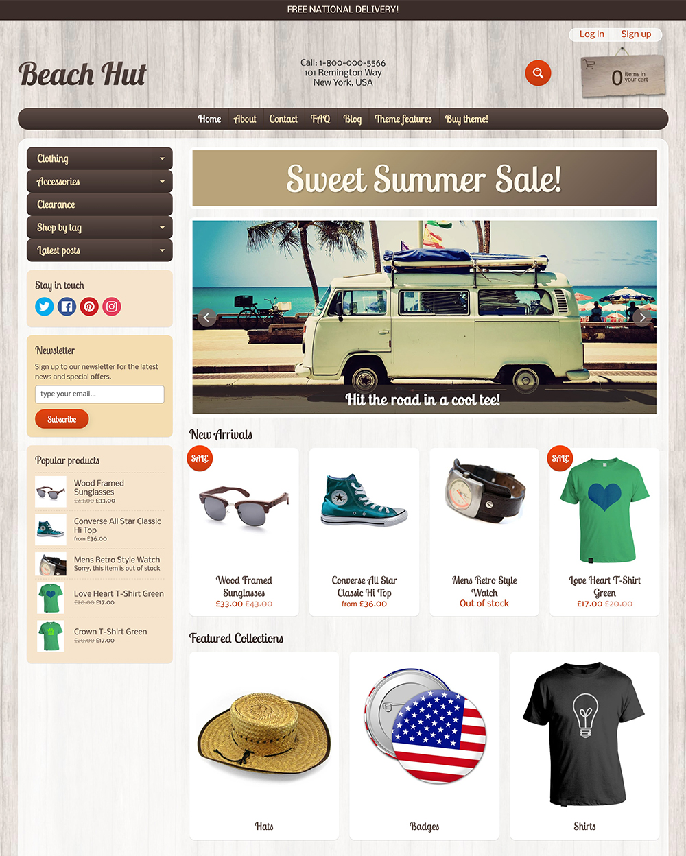 Beach Hut Theme Sunrise Ecommerce Website Template - Shopify website templates
