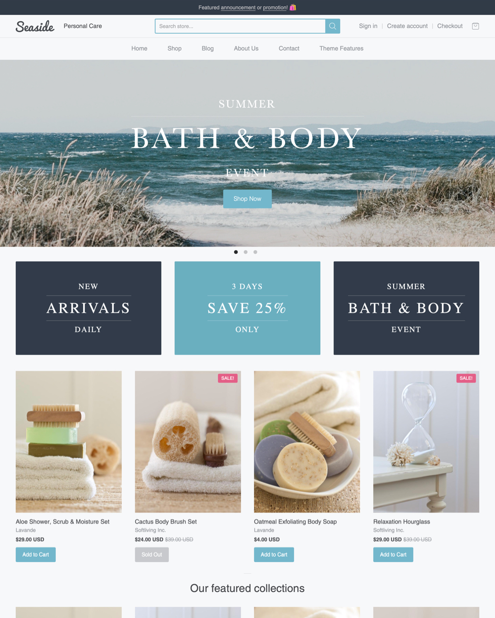 Seaside Theme Providence Ecommerce Website Template - Shopify design templates