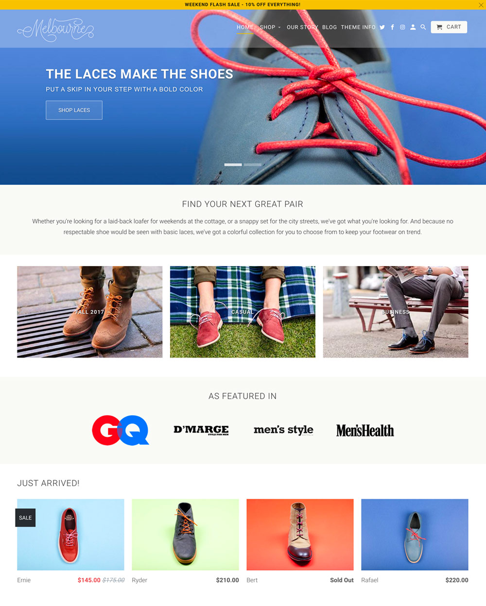 Melbourne Theme Retina Ecommerce Website Template