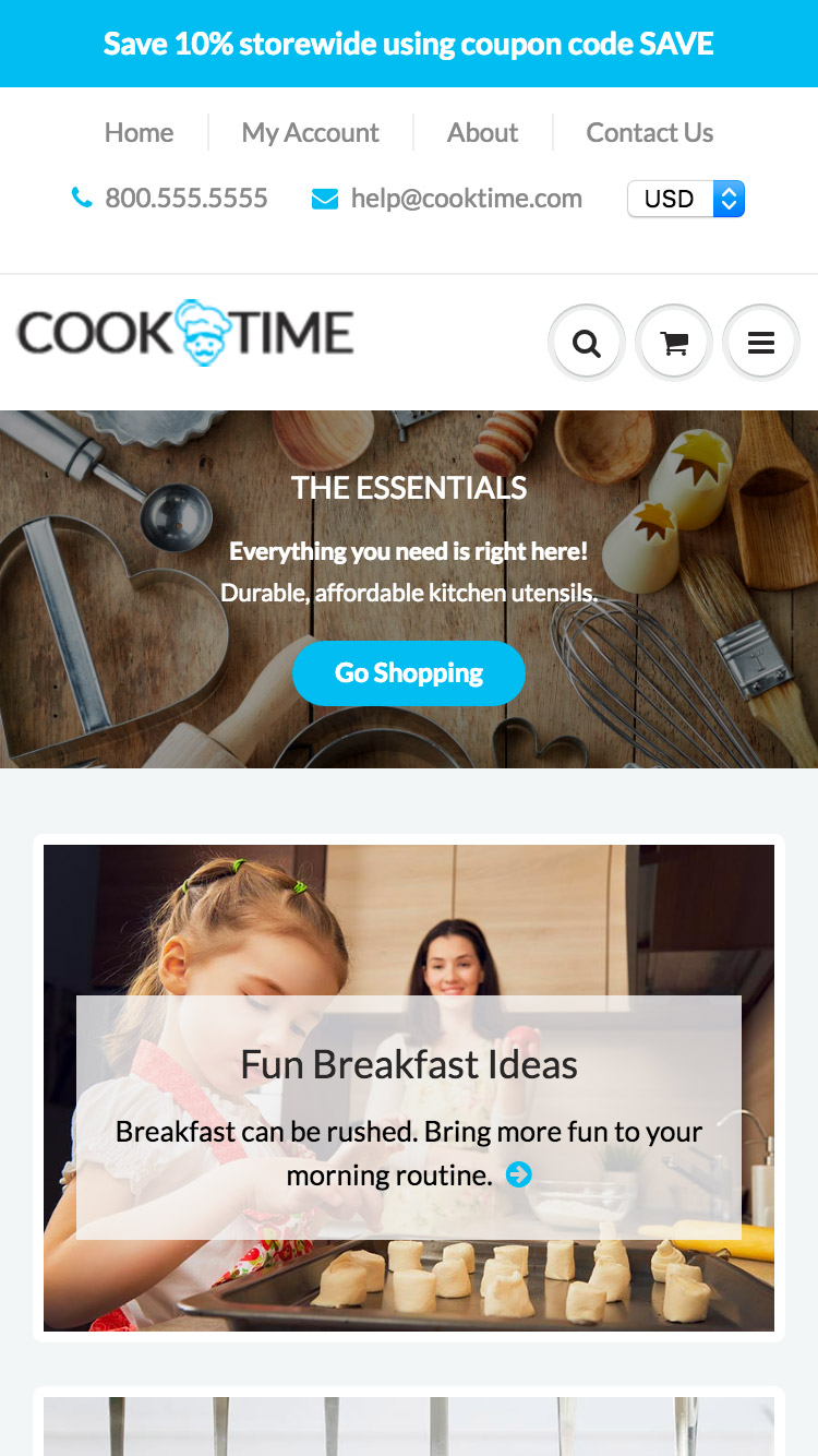 Mobile preview for the ShowTime - CookTime theme