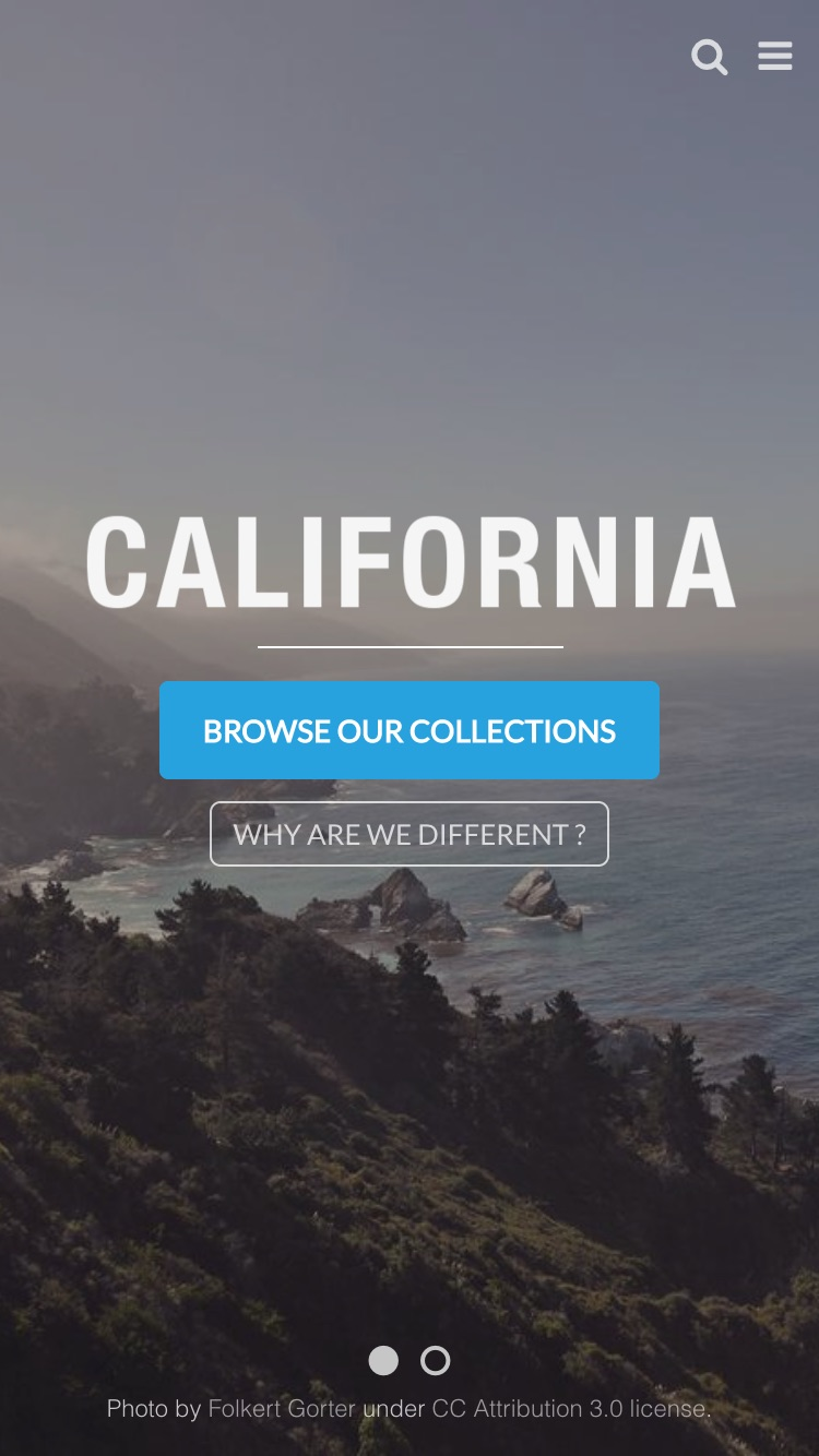 Mobile preview for the California - California theme