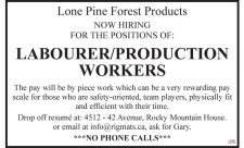 NOW HIRING FOR THE POSITIONS OF: LABOURER/PRODUCTION WORKERS