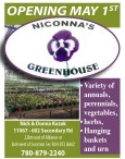 OPENING MAY 1ST  NICONNA'S GREENHOUSE