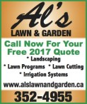 Call Now For Your Free 2017 Quote with Al's Lawn & Garden