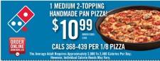 1 MEDIUM 2-TOPPING HANDMADE PAN PIZZA!