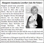 Margaret Anastacia Lowther (née McVicker)