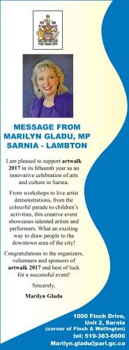 MESSAGE FROM  MARILYN GLADU, MP SARNIA - LAMBTON