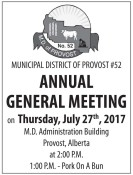 MUNICIPAL DISTRICT OF PROVOST #52  ANNUAL GENERAL MEETING on Thursday, July 27th