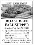 ROAST BEEF FALL SUPPER Sunday October 22