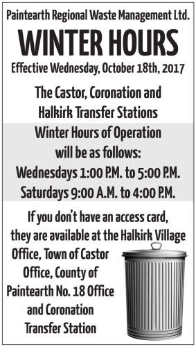 WINTER HOURS Effective Wednesday, October 18th, 2017