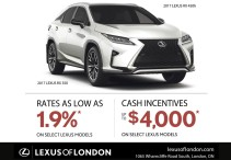 RATES AS LOW AS 1.9%* ON SELECT LEXUS MODELS