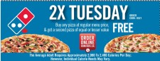 Buy any pizza at regular menu price, & get a second pizza of equal or lesser value FREE