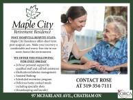 POST HOSPITAL/RESPITE STAYS at Maple City Retirement Residence