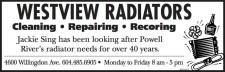 WESTVIEW RADIATORS Cleaning • Repairing • Recoring