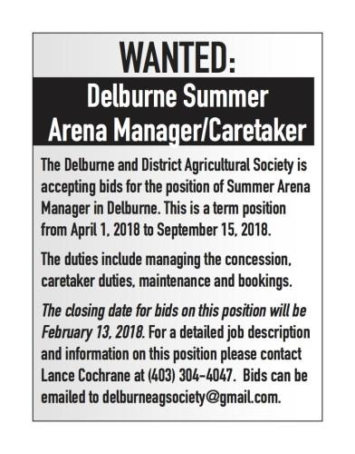 Delburne Summer Arena Manager/Caretaker wanted