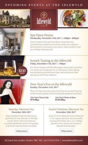 UPCOMING EVENTS AT THE IDLEWYLD