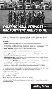 Calfrac Well Services – Recruitment Hiring Fair!