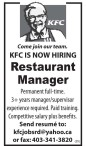 KFC IS NOW HIRING  Restaurant Manager