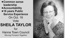 On Oct. 16 Vote SHEILA TAYLOR for Hanna Town Council