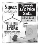 Center Street Thrift 5 year ANNIVERSARY