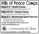 July 2-7 Youth Camp