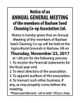 ANNUAL GENERAL MEETING of the members of Bashaw Seed Cleaning