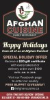 Happy Holidays from all of us at Afghan Cuisine!