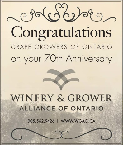 Congratulations GRAPE GROWERS OF ONTARIO on your 70th Anniversary