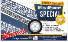 LIMITED TIME ONLY Wheel Alignment SPECIAL $96.95 + GST