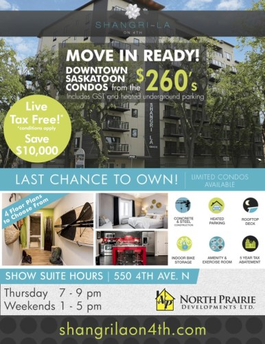 MOVE IN READY! DOWNTOWN SASKATOON CONDOS from the $260's