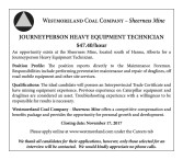 JOURNEYPERSON HEAVY EQUIPMENT TECHNICIAN Wanted