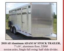 2018 All Aluminum ADAM 16' STOCK TRAILER