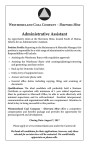 WESTMORELAND WANTS ADMNISTRATIVE ASSISTANT