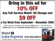 10% OFF Any Full Service Mobil1 Oil Change