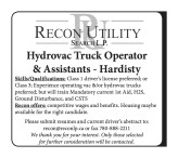 Hydrovac Truck Operator & Assistants wanted