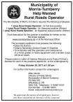 Help Wanted Rural Roads Operator