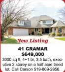 3000 sq ft, 4+1 br, 3.5 bath home for sale