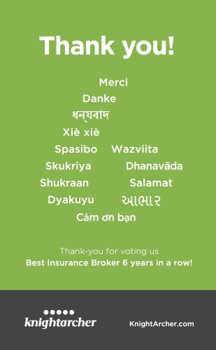 Thank you for voting Knight Archer Best Insurance Broker