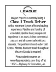 League Projects is currently hiring a Class 1 Truck Driver