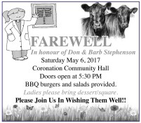 FAREWELL In honour of Don & Barb Stephenson Saturday May 6, 2017