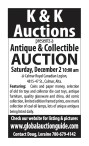 K & K Auctions presents an Antique & Collectible Auction Saturday, Apr. 22