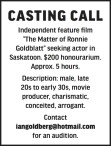 Independent feature film 'The Matter of Ronnie Goldblatt' seeking actor