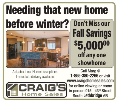 Don't Miss our Fall Savings $5,000.00 off any one showhome