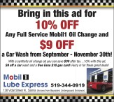 Bring in this ad for 10% OFF Any Full Service Mobil1 Oil Change